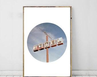 Motel Sign Urban Modern Photography, Printable Art, Printable Photography