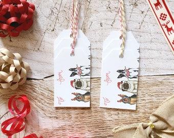 Dog Gift Tag Set - Pug, Christmas Gift Tags, Paper Gift Tag, Christmas Packaging, Christmas Gift Wrap, Boston Terrier Christmas, Yorkie