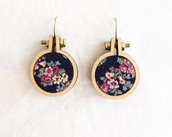 Repurposed Fabric Hoop Earrings. Blue. Red. Flowers. Pretty. Floral. Vermeil gold hooks. Recycled. Handmade. Eco jewellery. Textile art.