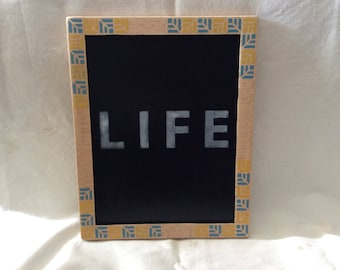 Yellow and blue ethnic pattern with inscription LIFE wooden frame