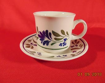 "One (1), 3"" Flat Cup & Saucer, from Churchill China, in the Salzburg Pattern."