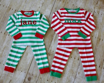 GREEN Striped-SIZE 3T-Striped Christmas Pajamas