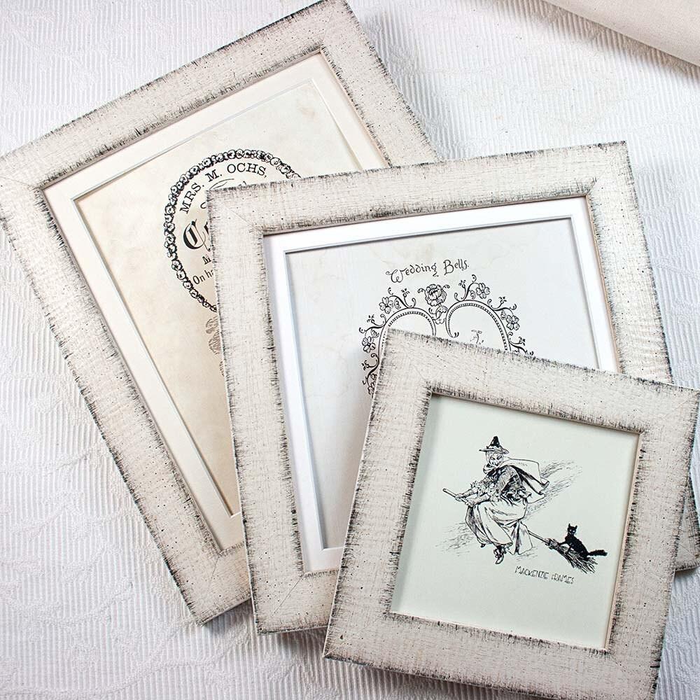 5 x 5 pulgadas cálido blanco antiguo marco de fotos madera oscuro ...