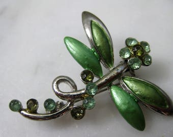 Vintage Jewellery Dragonfly Brooch Pin Green Rhinestone Enamel Silver