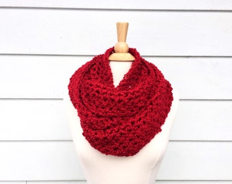 Red crochet endless scarf, crochet endless red scarf, red infinity scarf crochet, red crochet scarf cowl, endless crochet cowl