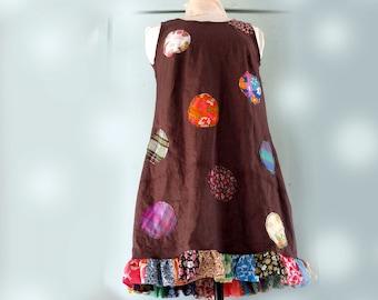 Cool Linen A line - Slip on Summer Dress - Patchwork - application dress