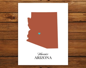 Arizona State Love Map Silhouette 8x10 Print - Customized