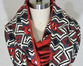 Made to Order - Aztec + Red Infinity Scarf