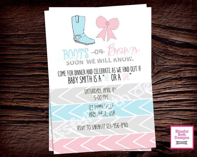 BOOTS OR BOWS, Boots or Bows Gender Reveal Invitation, Pink and Blue Gender Reveal Invite, Gender Reveal Party, Boy or Girl, Boots or Bows
