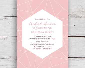 Facets Printable Bridal Shower Invitation with White Geometrics on a Millennial Pink Background