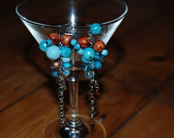 Blue and brown cluster earrings