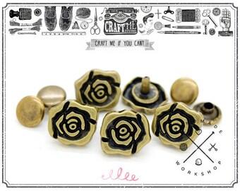 25pcs Antique Brass, Bronze ROSE Flower Shape Rapid Rivet Studs Leather Craft
