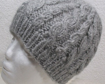Silver Grey Cable Hat in SOFT no itch Acrylic, - Beanie Cap - Women Adult - Teen Unisex
