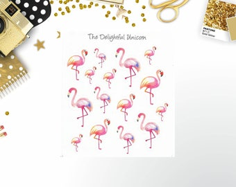 Flamingo stickers, flamingo planner stickers, bird stickers, summer stickers, cute stickers, planner accessories, planner gifts,