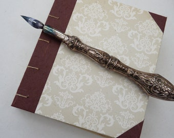 Small coptic notebook, rustic, floral, vintage look, recycled