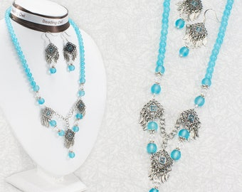 Beaded Jewelry Set / Blue and Silver Necklace and Earrings Jewelry Set / Aqua Blue Necklace and Earrings / Blue Jewelry / Mother's Day Gift