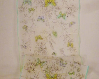 Vintage SILK SCARF  BUTTERFLIES Long gauge organza 43 x 12.5 great condition Spring colors