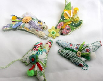 Bitty Bunny - Leaping Easter/Springtime Rabbit Quilty Critters - OOAK, Novelty, Folk Art, Ornament, Hare