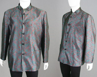 Vintage 60s YVES SAINT LAURENT Early Rive Gauche Mens Designer Jacket Nehru Collar Jacket Silk Brocade Coat Paisley Coat 1960s Hippie Jacket