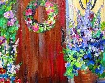 Doorway Original Painting canvas art 16 x 20 Fine art by Elaine Cory