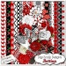 Sale: LadyBug Red and Black Digital Scrapbooking Kit- Bettina Flowers, Chevron, Lady Bugs Clip Art, Instant Download