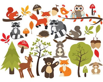 instant download woodland animals clipart forest clip art rh etsy com cute forest animal clipart forest animal clipart free