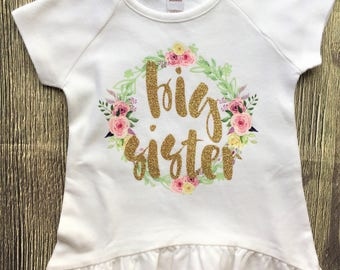 Big Sister Shirt, Little Sister onesie®, Sister Floral Shirt // coming home outfit, family photos, pregnancy announcement, unicorn shirt