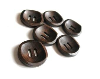Petit bouton de bois marron de 2cm - ensemble de 6 boutons en bois naturel