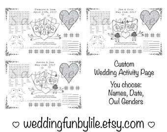 Owl Wedding Activity Page PDF. Print at Home. Gay, LGBTQ. Custom Favor, Coloring. Your Names & Date. You Choose Wedding Couple's Outfits.