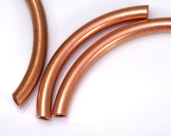 10 Pcs Raw copper Curved Tube 55 x 5 mm (hole 3 mm) industrial copper Charms,Pendant,Findings spacer bead CT5514-5