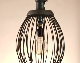 Hanging Light upcycled industrial oversized whisk turned to hanging metal chandelier