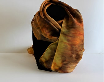 Silk Scarf, hand dyed, yellow/brown/sienna, 11 x 60 inches