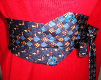 Sash tie geometric print with personalized epoxy