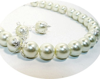 Ivory Pearl Necklace and Earrings, Large Pearl Jewelry Set, Bridal Pearls. Wedding Jewelry, Bridal Accessories, Choker Necklace, Bride