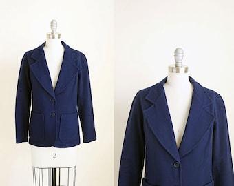 vintage bobbie brooks dark navy blue indigo wool blazer jacket m