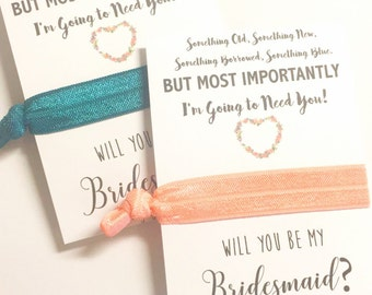 Will you be my Bridesmaid Proposal - Hair Tie Favor - Something Old New Borrowed Blue - Will You Be My Maid of Honor / Flower Girl