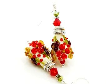 Red Earrings, Floral Earrings, Autumn Earrings, Lampwork Earrings, Glass Earrings, Glass Bead Earrings, Cone Earrings, Colorful Earrings