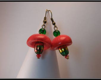 Earrings red polymer clay bead and glass beads.