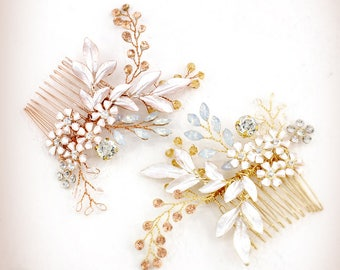 Bridal Hair Comb Crystal Leaves Wedding Hair Accessories gold Hair Accessory Crystal Bridal Comb Bridal Rose gold Bridal Hair comb Gold