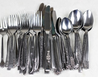 Mismatched Stainless Flatware Vintage Silverware Japan USA 40pcs Set for 8