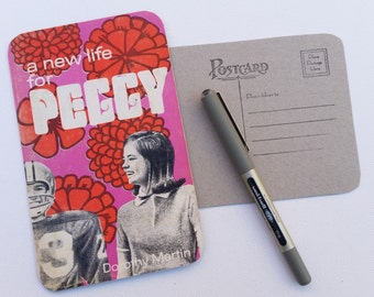 A new life for Peggy, upcycled paperback book postcard