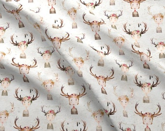 Antler Girls Fabric - Antler Girls White By Katherine Quinn - Antler Girls Floral Feathers Crowns Cotton Fabric By The Yard With Spoonflower
