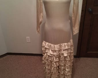 Spectacular 1930s Ruffled Silk Wedding Gown