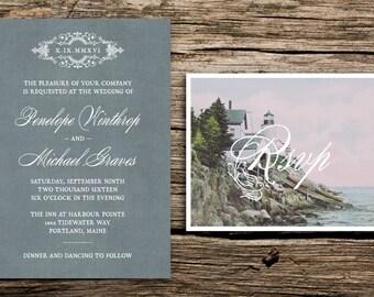 Antique Lighthouse Wedding Invitation Set // Maine Wedding Invitations Vintage RSVP Wedding Invites Gray Grey New England Nautical Elegant