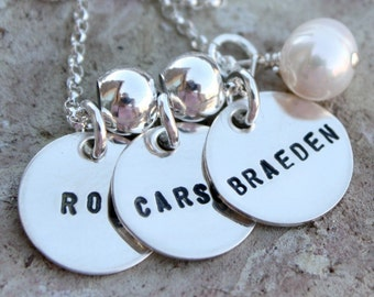 Custom sterling silver  teeny tags necklace with one charm