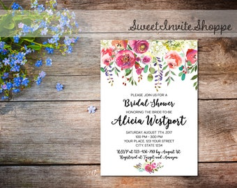 Watercolor Floral Bridal Shower Invitation, Boho Floral Bridal Invitation, Watercolor Flowers Invitation, Bohemian Shower Invitation