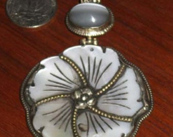 Large Shell Flower Pendant in Silver