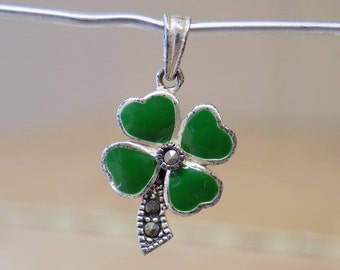 Sterling & Marcasite 4-Leaf Clover Pendant .925 Silver Children's/Ladies Celtic Good Luck Jewelry Used, good condition