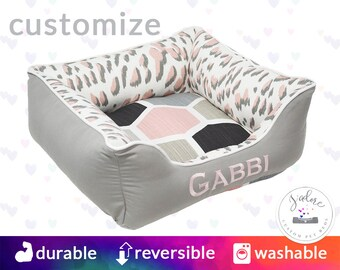 Light Pink and Gray Cat Bed or Dog Bed | Classy, Girly, Leopard, Geometric, Cute - Small, Medium, Large Bolster Pet Bed