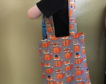 Fox Library Bag/Kid's Library Bag/Library Bag/Animal Library Bag/Book bag/Reading Bag/Library Tote/Reading bag/Woodland Animal/Ready to Ship